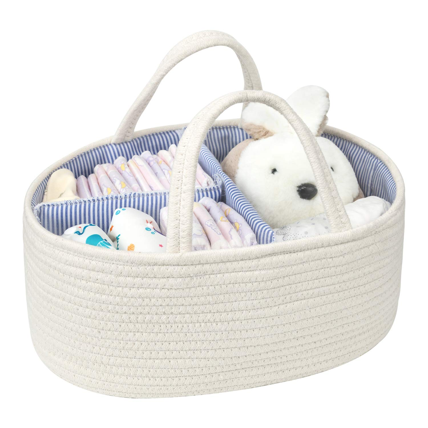 Baby Diaper Caddy Organizer Cotton Rope Storage Basket Nursery Storage Bin for Changing Table and Car by UBBCARE