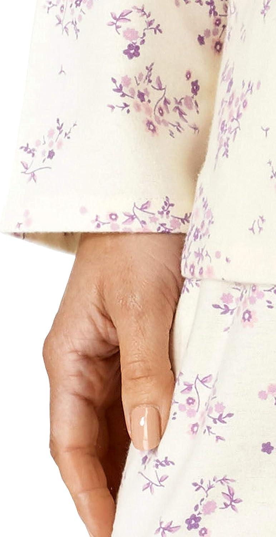 Slenderella Ladies Luxury Flower Print Soft Cotton Long Sleeve Collared Pyjamas