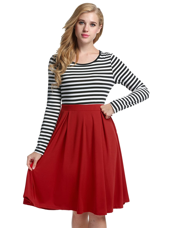 ACEVOG Women's Vintage Stripes Patchwok A-line Long Sleeve Cocktail Dress 0AVH005353