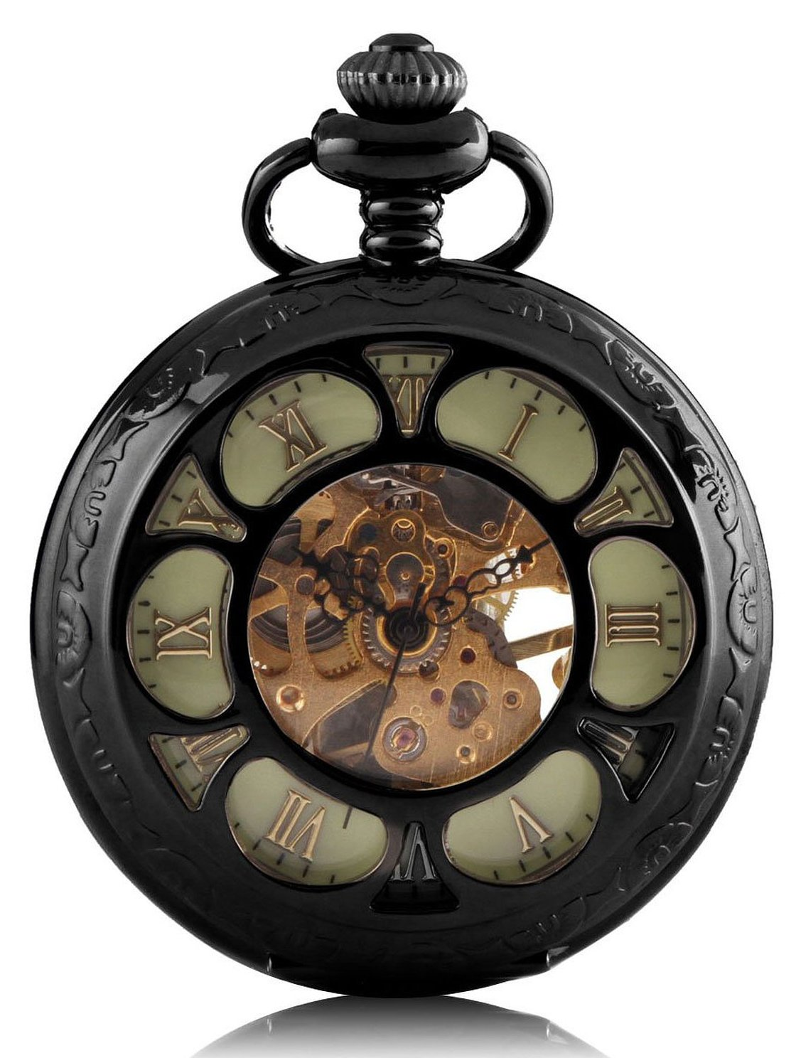 Carrie Hughes Luminous dial Steampunk Skeleton Mechanical Pocket Watch with Chain Gift (Rococo)
