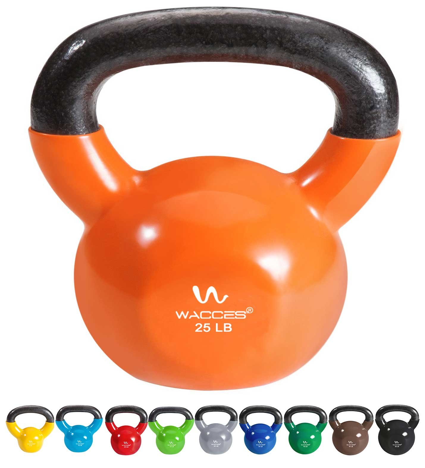 Wacces Single Vinyl Dipped Kettlebell for Croos Training, Home Exercise, Workout 25LB