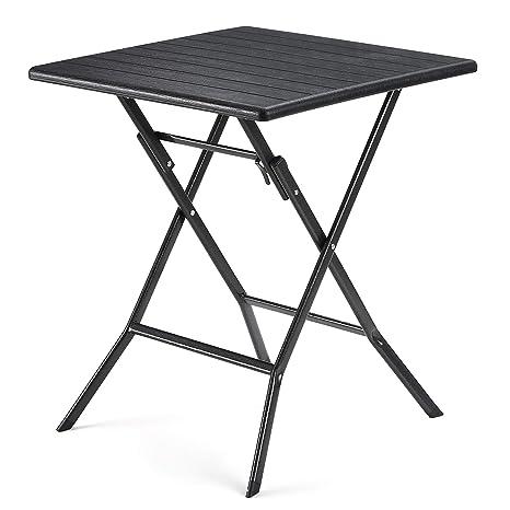 SONGMICS Table Pliante, petiteTable de Jardin avec Surface en Plastique  Effet Grain de Bois, Imperméable, Pieds Robustes en Fer en Forme de Sabot,  ...