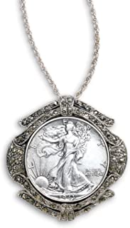product image for Walking Liberty Half Dollar Marcasite Coin Pin/Pendant