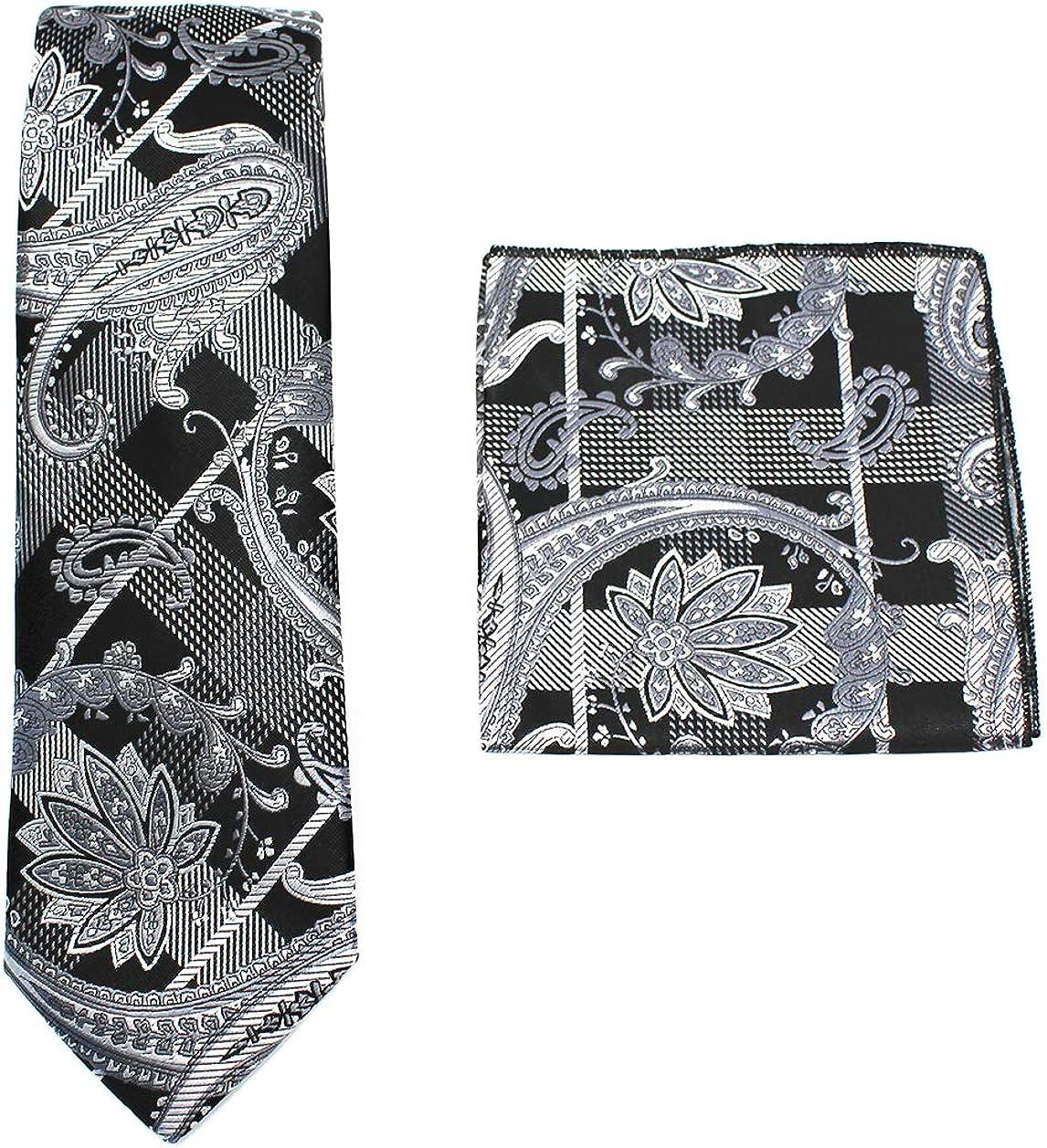 C ALLEN Paisley Tie Handkerchief Woven Classic Mens Necktie /& Pocket Square Set
