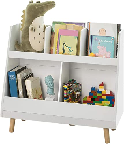 Haotian White Children Kids Bookcase Book Shelf Storage Display Rack Organizer Holder KMB19-W