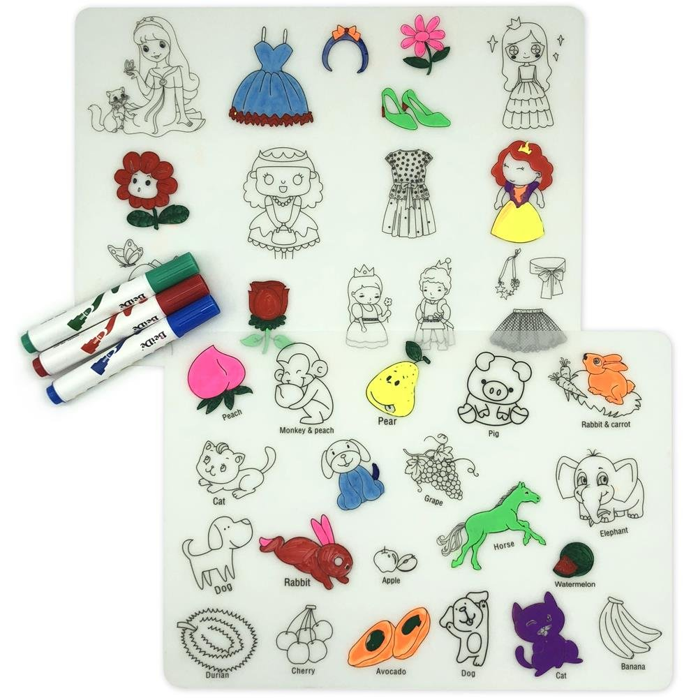 LONGFITE Coloring Kids Placemats Doodle Fun Pad FDA Silicone Table Mat Drawing Painting Non Slip Washable and Reusable for Children (Animals and Fruits+Beautiful Princesses+3 Markers, With Markers)