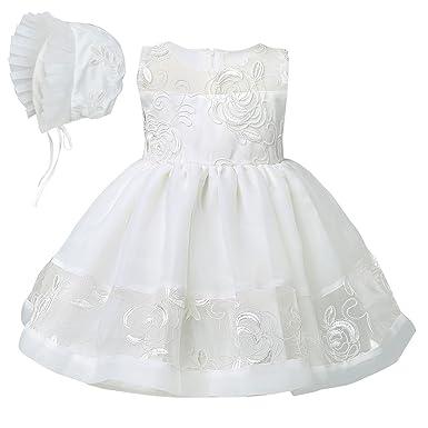 54fd6affc YIZYIF 2 Piezas Gorro Vestido Bebé Niña(3-24 Meses) Para Bautizo Vestidos  Blanco De Ceremonia Cumpleanos Niñas Nacido Recién  Amazon.es  Ropa y  accesorios