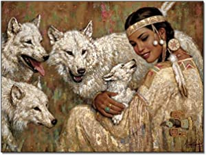 Art Posters Native American Woman And Wolves Room Decor Wall Decor Paintings Canvas Poster Wall Art Decor Print Picture Paintings for Living Room Bedroom Decoration 16×20inch(40×51cm) Frame-style1