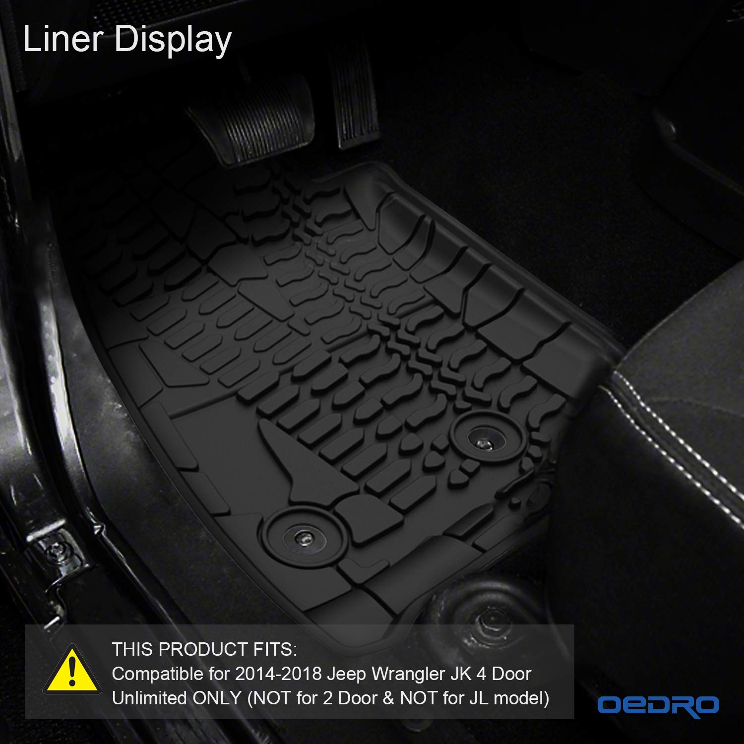 Amazon.com: OEdRo Floor Mats Liners Compatible For 2014 2018 Jeep Wrangler  JK 4 Door Unlimited Slush   Unique TPE All Weather Protection, Includes 1st  U0026 2nd ...