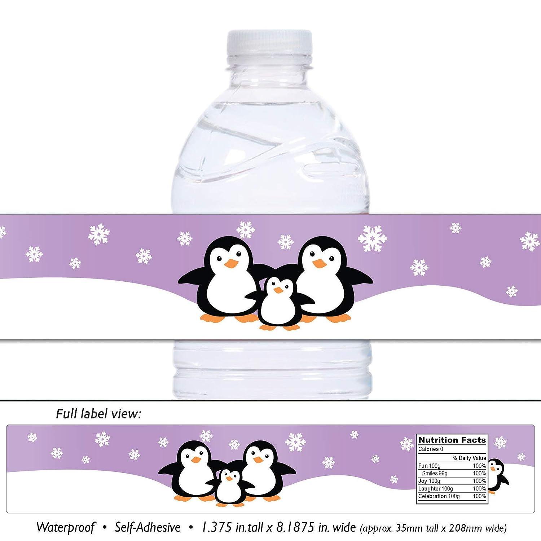 Lavender 21 Penguin Waterproof Self Adhesive Water Bottle Labels