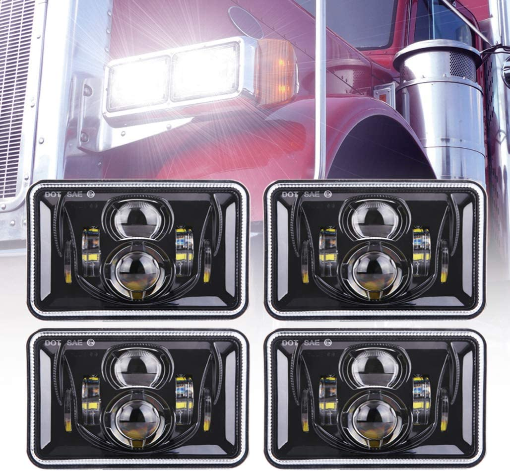 4X DOT Approved 4x6 inch LED Headlights DRL for Peterbilt Kenworth Freightliner
