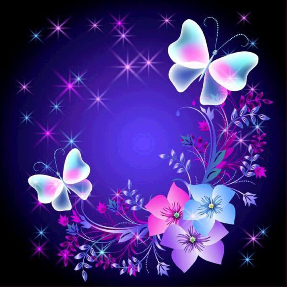 Butterfly Flowers Diamond Painting Kits Rhinestone Pasted Numbers 5D Diamond Art Kit For Kids&Parents Diy Handcraft For Livingroom Bedroom Wall Mural Decor Mumustar (Butterflies & Flowers) Mumustar 01