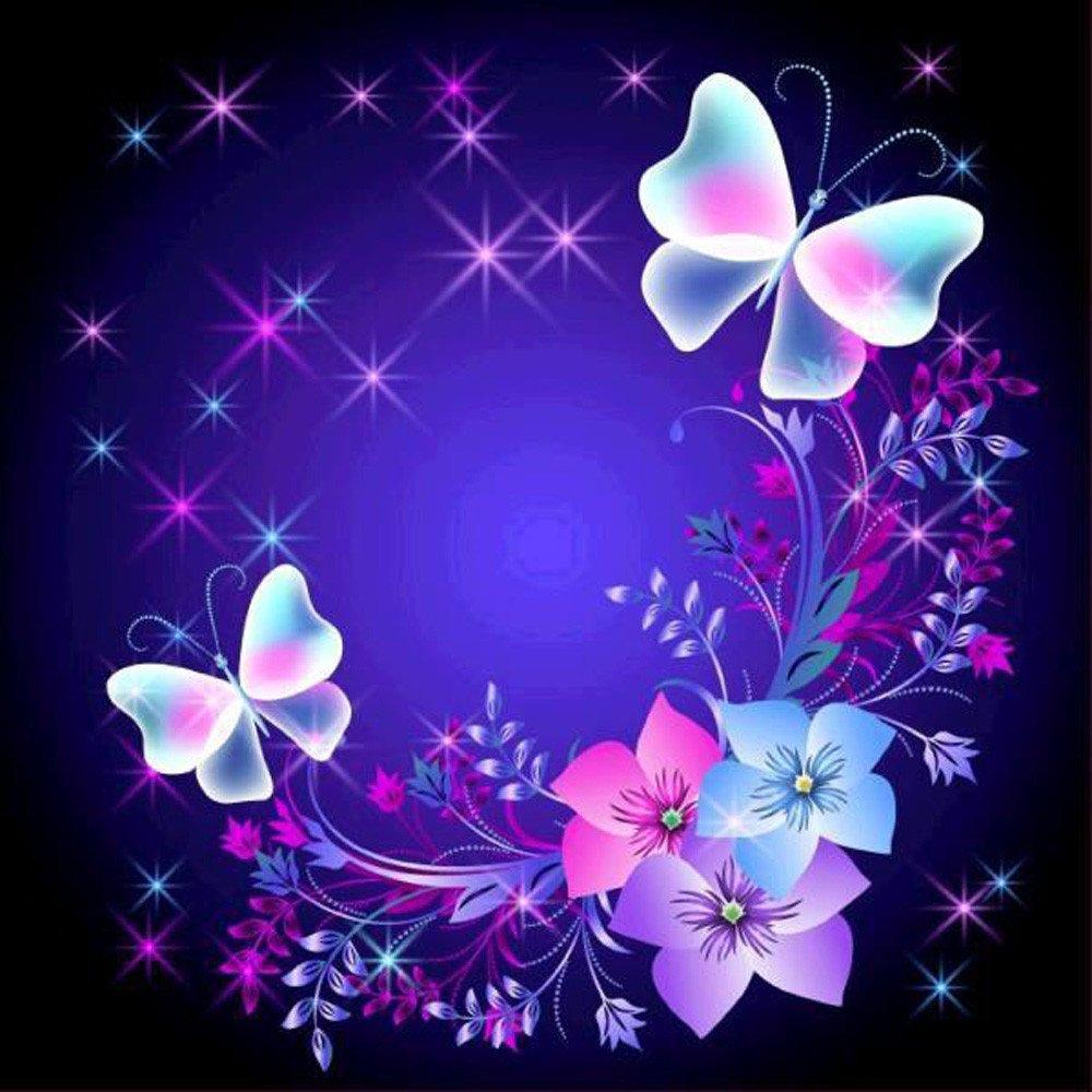 Butterfly Flowers Diamond Painting Kits Rhinestone Pasted Numbers 5D Diamond Art Kit For Kids&Parents Diy Handcraft For Livingroom Bedroom Wall Mural Decor Mumustar (Butterflies & Flowers) Mumustar 01