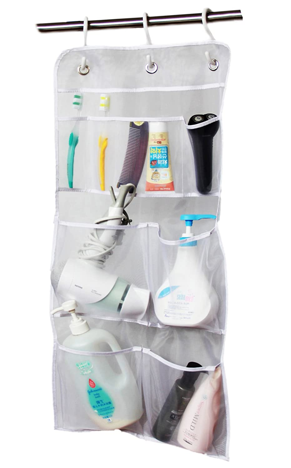 Amazon.com: Misslo Hanging Mesh Pockets Hold 340oz/1000ml Shampoo ...
