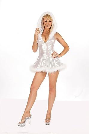 c9b0d58f0185 Nom de Plume, Inc Women Sexy Shimmer Hooded Christmas Dress Large Silver