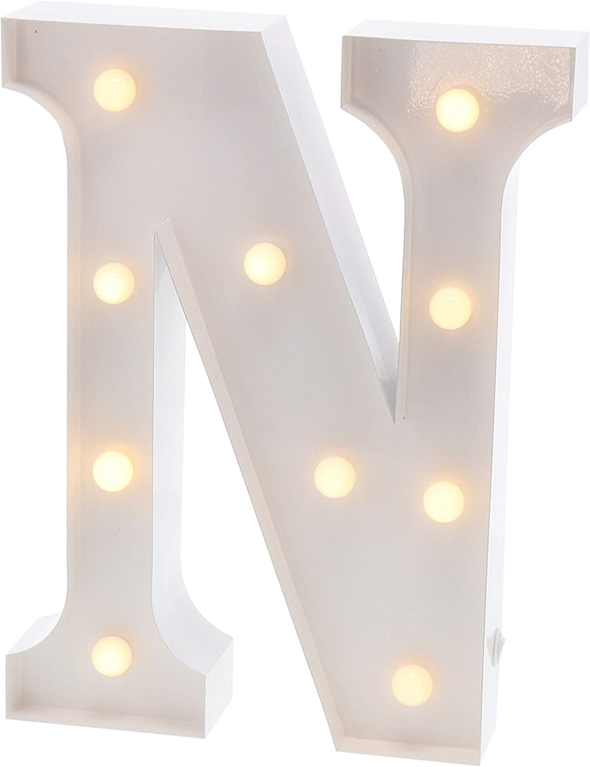 """Barnyard Designs Metal Marquee Letter N Light Up Wall Initial Wedding, Bar, Home and Nursery Letter Decoration 12"""" (White)"""
