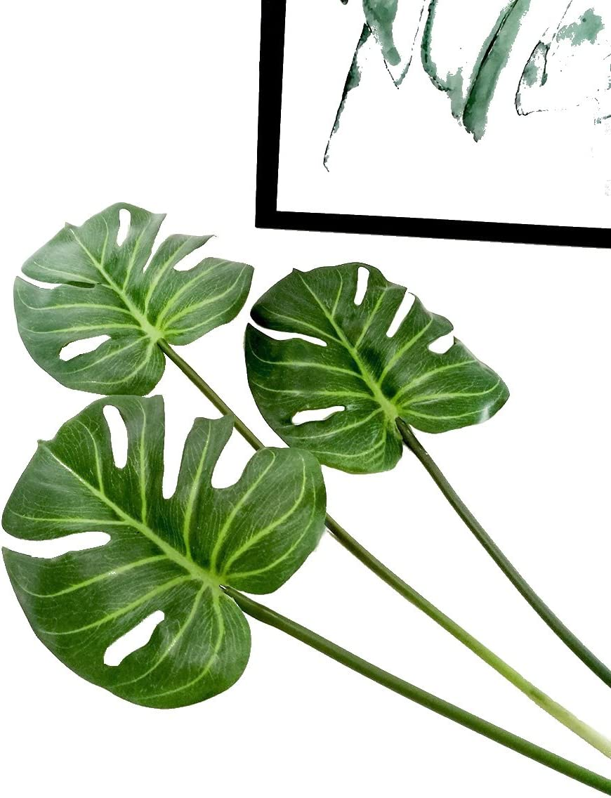 """Ahvoler 3 Pcs Artificial Tropical Palm Leaves Fake Monstera Tree Plant for Home Decorations 24.5"""", Green"""