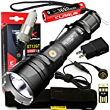 Klarus Upgraded XT12GT SUPER BUNDLE w/ Advanced Tactical LED Flashlight, 18650 Battery, Magnetic Charging Cable, USB Cable, Holster, Lanyard, Car Adapter, Wall Adapter, and Mini USB Light