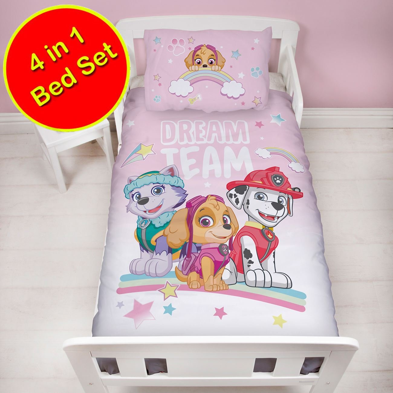 Paw Patrol Pastels 4 in 1 Junior Bedding Bundle Set (Duvet, Pillow and Covers) Character World