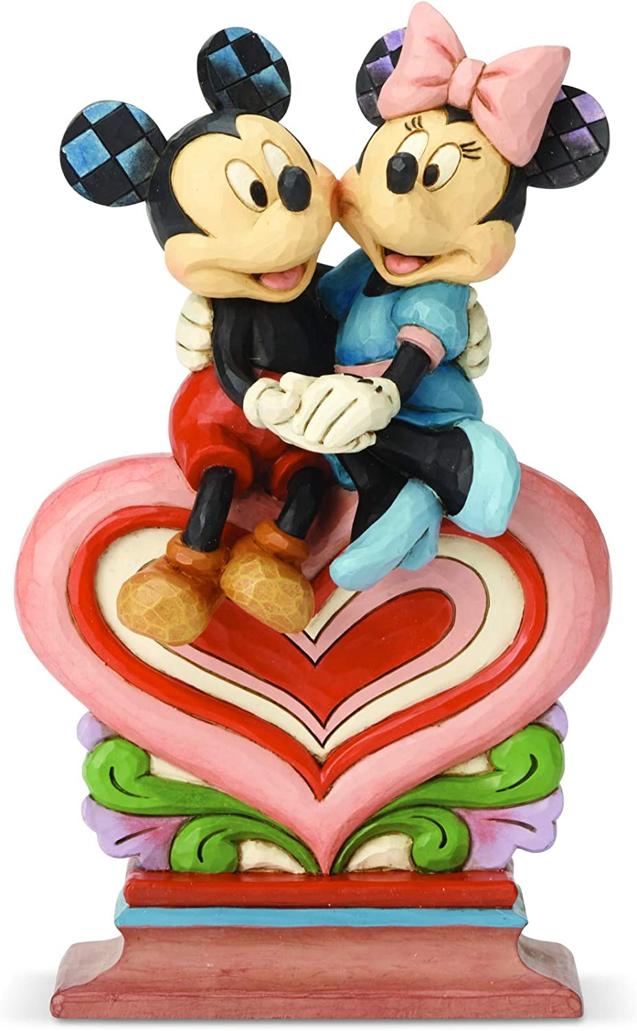 Enesco Disney Traditions by Jim Shore Mickey and Minnie Mouse Sitting on Heart Figurine, 8.5 Inch, Multicolor