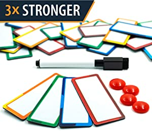 "32 Pieces Strong Dry Erase Magnetic Labels 3.3"" x 1.3"" 