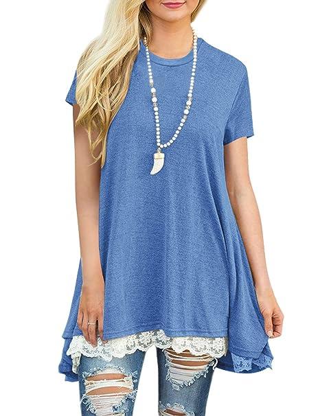 FeelinGirl Mujer Blusa Mangas Cortas Camisa Encaje Verano Azul S