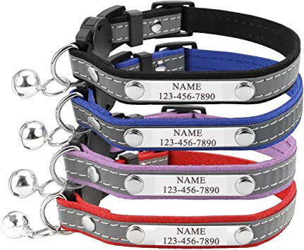 Personalized Master Custom Pet Collar with Name and Phone Number Reflective Breakaway Cat Collar with Bell