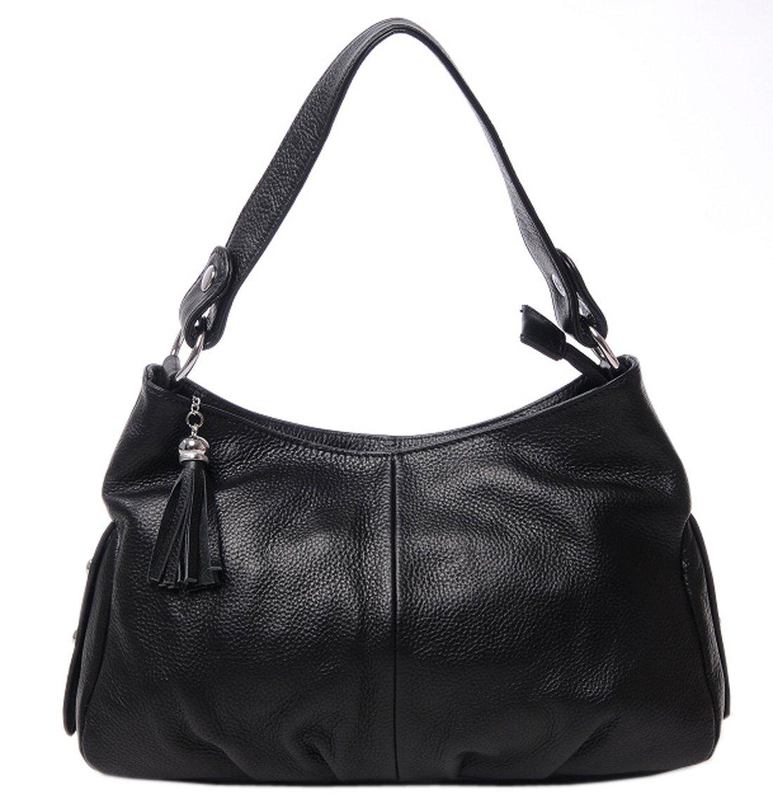 SAIERLONG Women's Tote Single Shoulder Bag Black Genuine Leather
