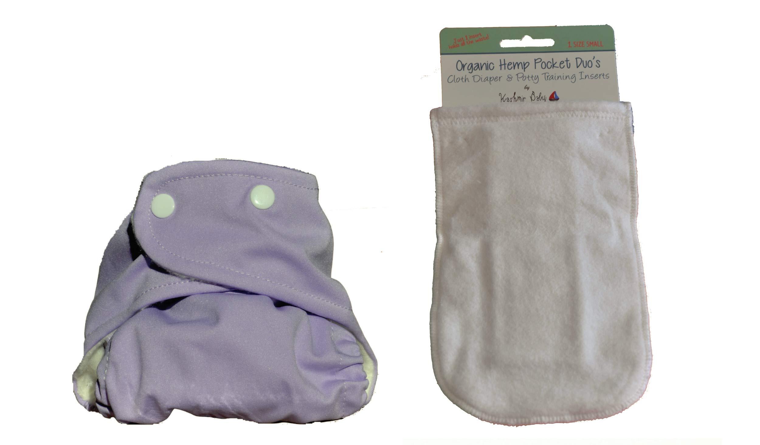 Kashmir Baby Hemp/Organic One Size Diaper, Hemp Insert -Lavender snap by Kashmir Baby