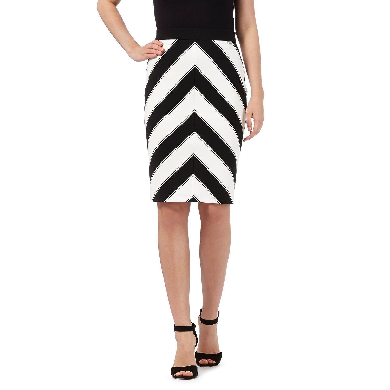 Star By Julien Macdonald Womens Black Striped Textured Skirt