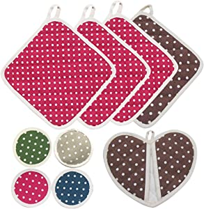 Kitchen Pot Holders Cotton Made , Oven Mitt with Hanging Loop, Heat Resistant Coasters for Cooking Baking Superior Protection, Festival Gifts Cute Design, Machine Washable 9 Count