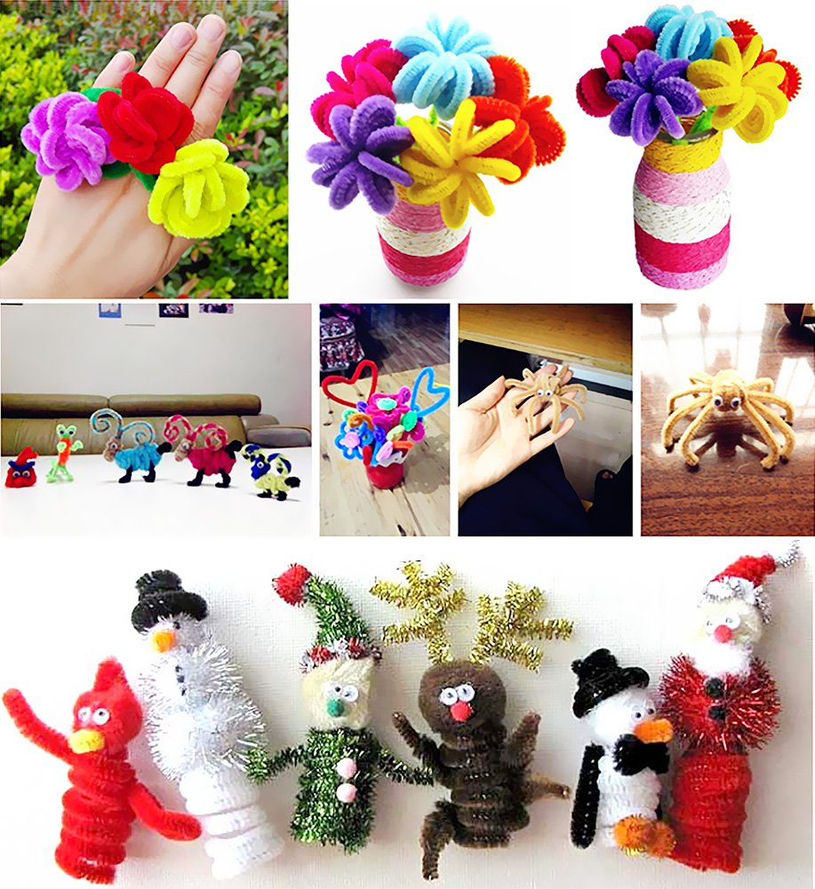Acerich 600 Pcs Assorted Colors Pipe Cleaners DIY Art Craft Decorations Chenille Stems 6 mm x 12 Inch