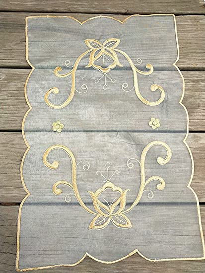 ZHFC - Toalla de bordado de encaje de tela pastoral europea rectangular para decoración de mesa