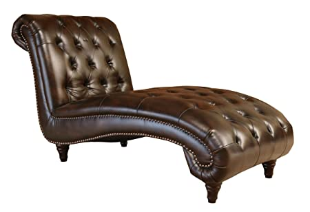Abbyson Mirabello Hand Rubbed Leather Chaise, Brown