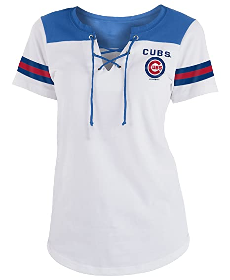 buy popular 94af0 b5a0d New Era Chicago Cubs Women's Sleeve Striped Lace-Up T-shirt