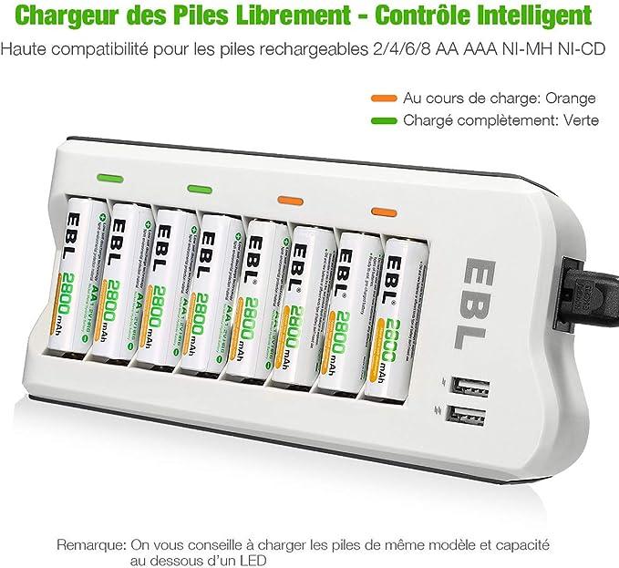 EBL 8pcs Piles Rechargeables AA 2800mAh + Chargeur de Piles 8 Slots avec 2 USB Ports pour Accus AAAAANi CDNi MH et Smartphone Tablette Rechargeable