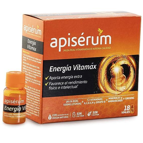 Apisérum Vitamax Viales Bebibles- Aporte de Energía Extra y Vitalidad Favorece el rendimiento físico e intelectual Con Jalea Real, Vitaminas, ...
