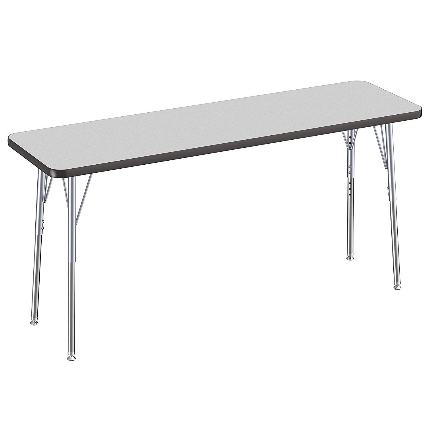 Adjustable Height 19-30 inches Standard Legs with Ball Glides Maple Top and Black Edge 24 x 36 inch FDP Rectangle Activity School and Office Table