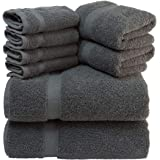 White Classic Luxury Grey Bath Towel Set - Combed Cotton Hotel Quality Absorbent 8 Piece Towels | 2 Bath Towels | 2 Hand Towe