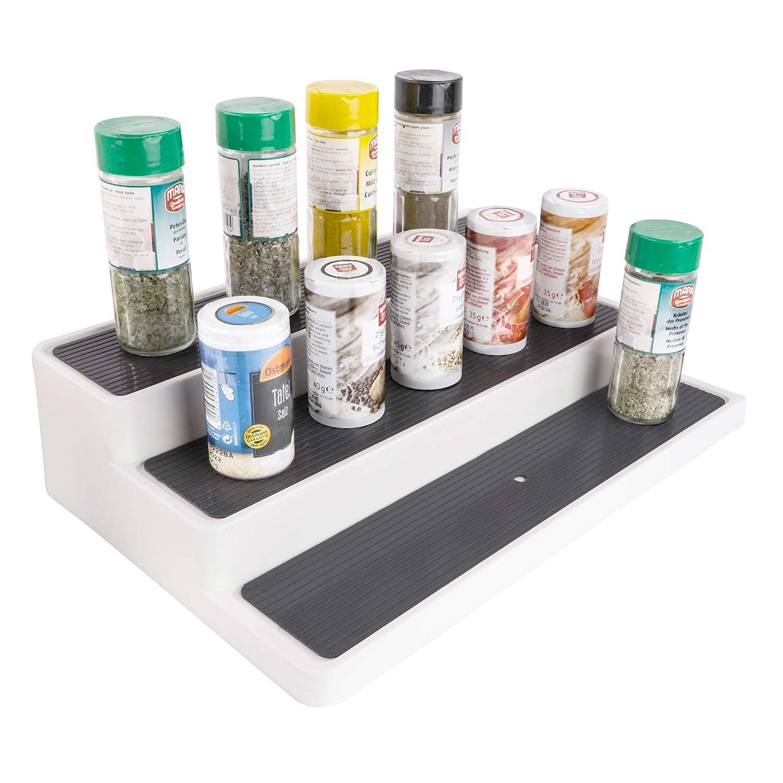 robustes Metall mit Silber-Finish mDesign Gew/ürzregal ausziehbar vielseitige Gew/ürzablage f/ür Ordnung im K/üchenschrank oder auf der K/üchenablage voll ausgezogen 2 Gew/ürzregale nebeneinander