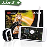 2-in-1 Wireless Dog Fence System & Dog Training Collar, Invisible Pet Fence System Kit Static Shock & Vibration & Tone for Small to Large Stubborn & Energetic Dogs Waterproof & Rechargeable