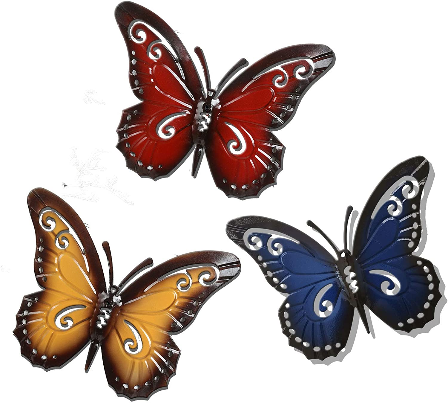 Metal butterfly art, indoor and outdoor hanging wall decoration mural sculpture, 3 pieces