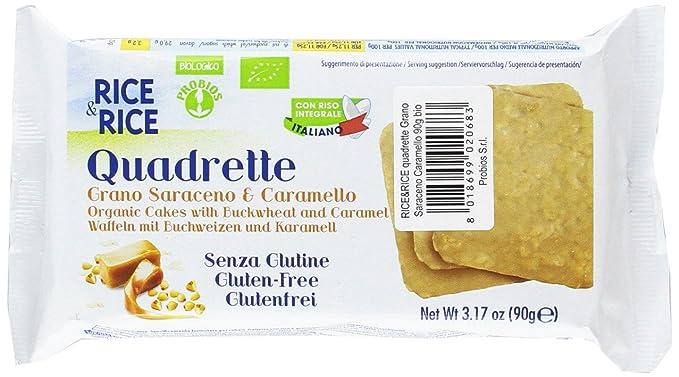 Probios Rice&Rice Galletas con Arroz y Alforfón Cubiertas con Chocolate-Caramelo - Paquete de 16