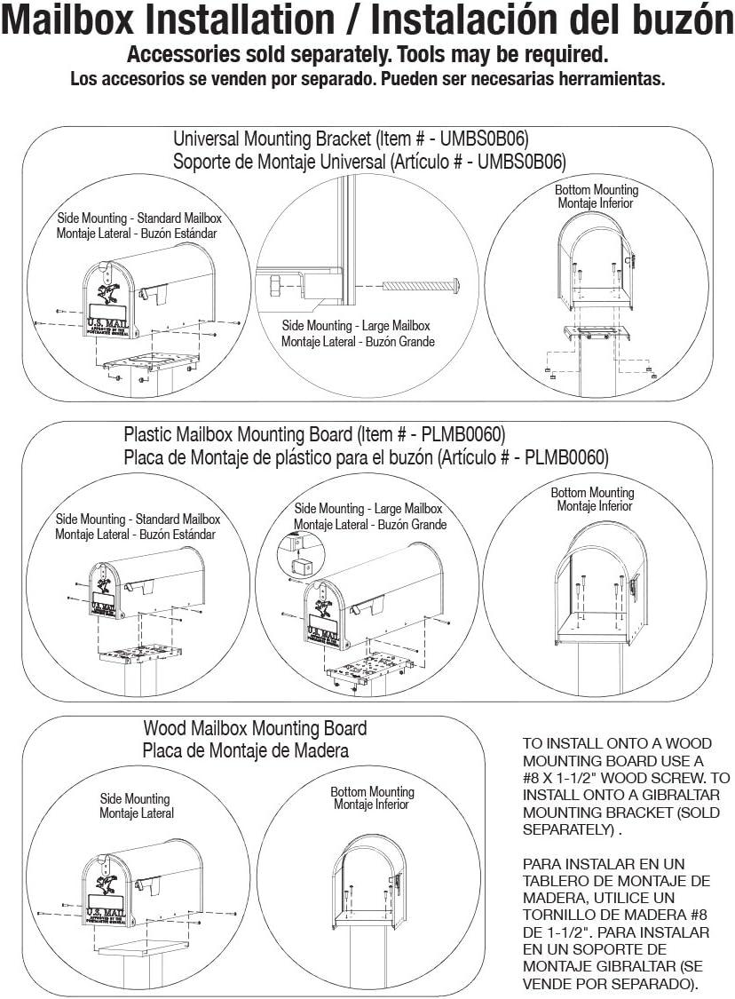 PLMB0060 Gibraltar Black Molded Plastic Universal Mailbox Mounting Bracket