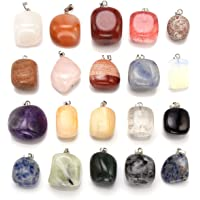 JSDDE 20pcs Tumble Stone Crystals Pendants, Reiki Healing Energy Gemstone for Necklace Jewelry Making