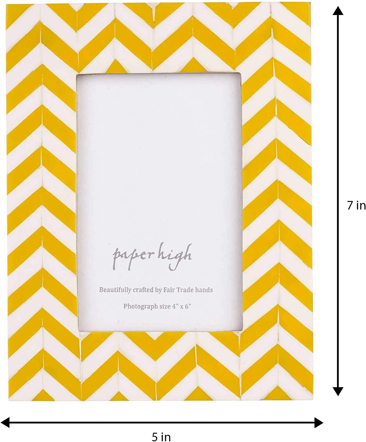 Paper High Mango Wood Chevron Photo Frame 7 X 5 Inches Sustainable Wooden Picture Frame Hand Carved Yellow And White Frames Fair Trade And Handmade Gifts For Men