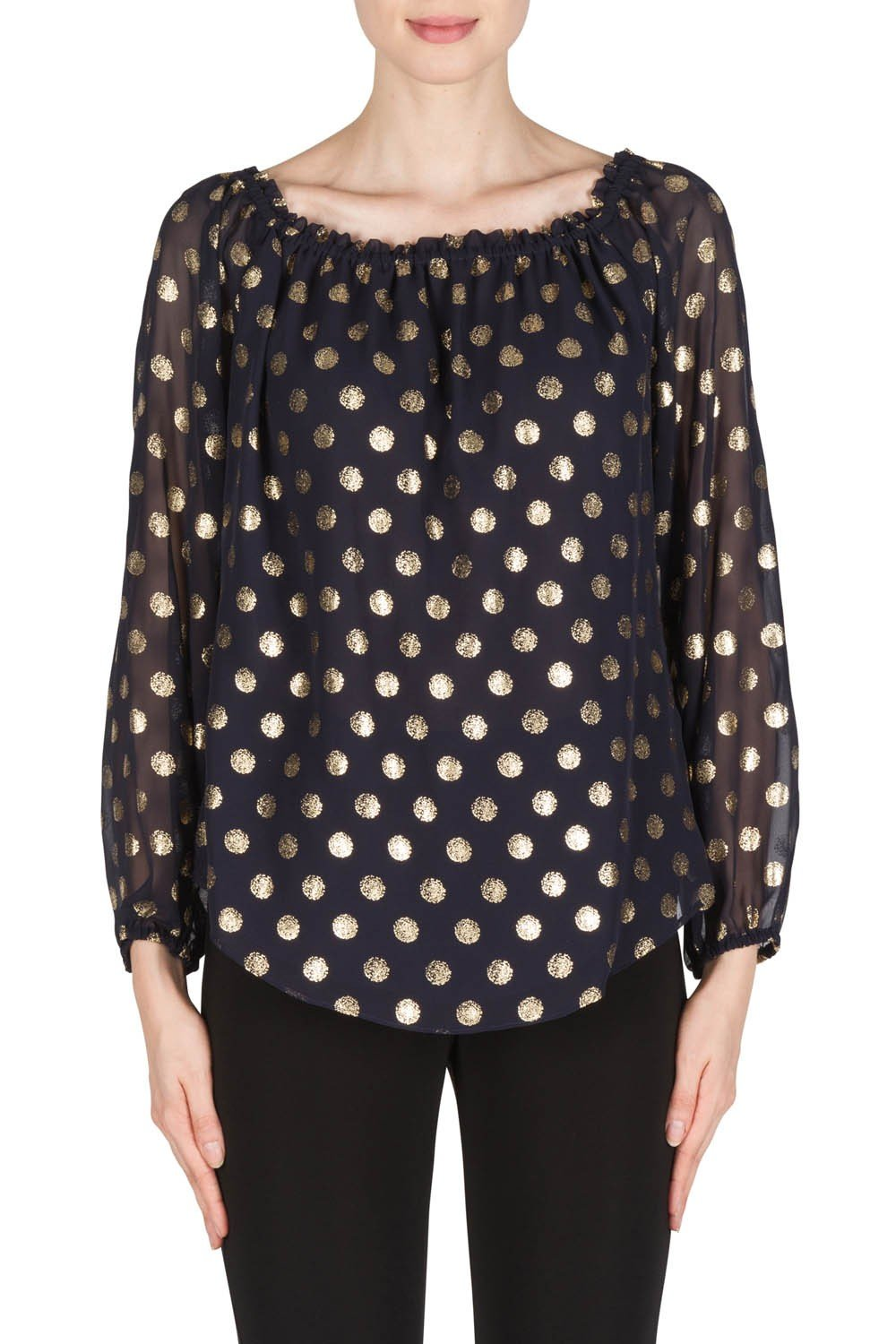 Joseph Ribkoff Midnight Blue/Gold Top With Polka Dot Details Style 181608