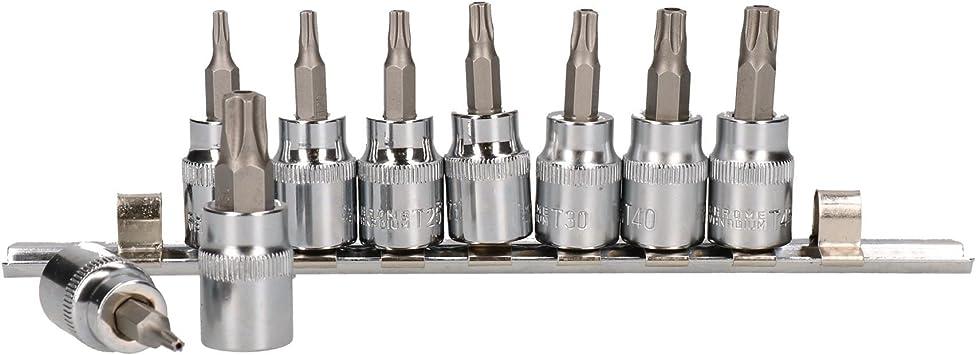 TPS50 3//8Unidad de 9 piezas en el riel Tomas de seguridad de 5 lados Torx Plus TPS10