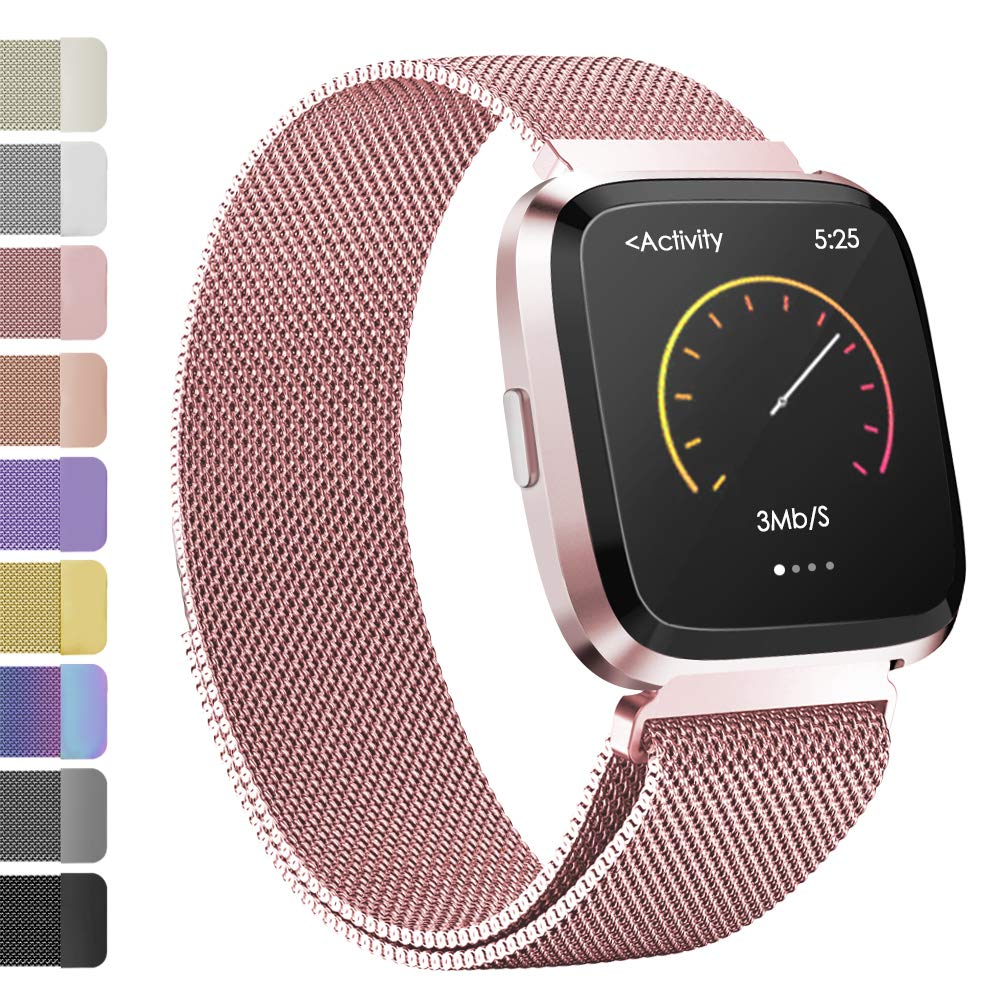 iGK Metal Replacement Bands Compatible for Fitbit Versa/Versa Lite Edition, Stainless Steel Loop Metal Mesh Bracelet Unique Magnet Lock Wristbands
