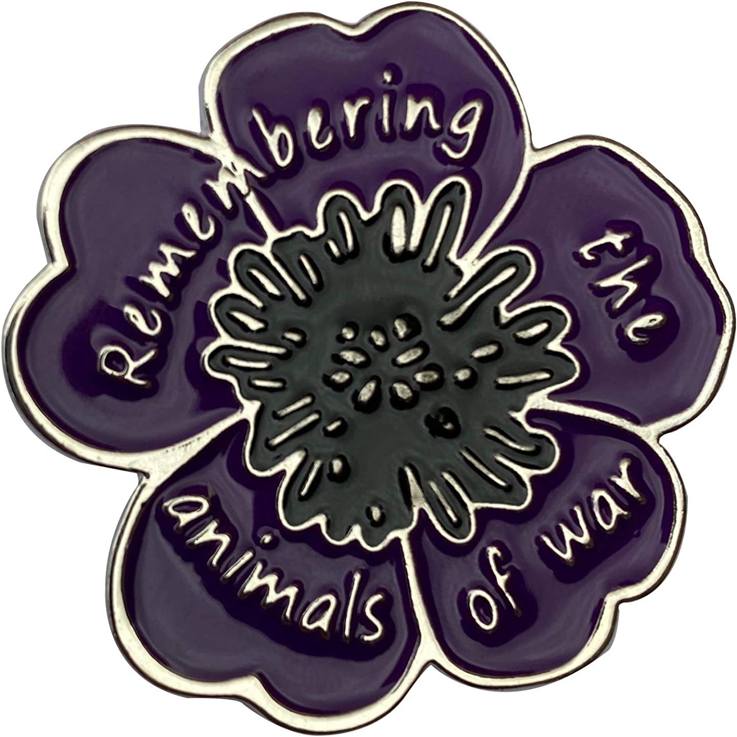 REMEMBERING THE ANIMALS OF WAR New Purple Flower Poppy Day Badge BRAND NEW
